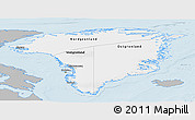 Gray Panoramic Map of Greenland, single color outside