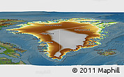 Physical Panoramic Map of Greenland, darken