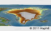 Physical Panoramic Map of Greenland, darken