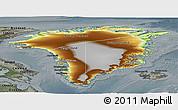 Physical Panoramic Map of Greenland, darken, semi-desaturated