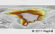 Physical Panoramic Map of Greenland, desaturated