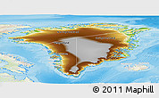 Physical Panoramic Map of Greenland, lighten, land only