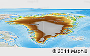 Physical Panoramic Map of Greenland, lighten, semi-desaturated, land only