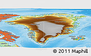 Physical Panoramic Map of Greenland, political outside, shaded relief sea