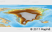 Physical Panoramic Map of Greenland, political shades outside