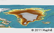 Physical Panoramic Map of Greenland, satellite outside