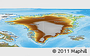 Physical Panoramic Map of Greenland, satellite outside, shaded relief sea