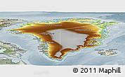 Physical Panoramic Map of Greenland, semi-desaturated