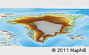 Physical Panoramic Map of Greenland, shaded relief outside