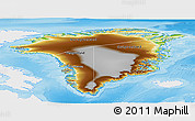 Physical Panoramic Map of Greenland, single color outside