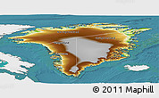 Physical Panoramic Map of Greenland, single color outside, satellite sea