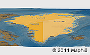 Political Shades Panoramic Map of Greenland, darken