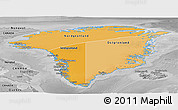 Political Shades Panoramic Map of Greenland, desaturated
