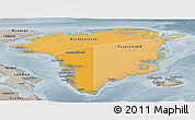 Political Shades Panoramic Map of Greenland, semi-desaturated