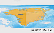 Political Shades Panoramic Map of Greenland, single color outside