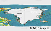 Satellite Panoramic Map of Greenland, physical outside, satellite sea