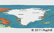 Satellite Panoramic Map of Greenland, political outside, satellite sea