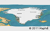 Satellite Panoramic Map of Greenland, political shades outside, satellite sea