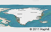 Satellite Panoramic Map of Greenland, shaded relief outside, satellite sea