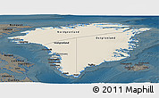Shaded Relief Panoramic Map of Greenland, darken