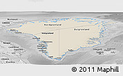 Shaded Relief Panoramic Map of Greenland, desaturated