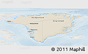 Shaded Relief Panoramic Map of Greenland, lighten