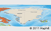 Shaded Relief Panoramic Map of Greenland, political outside, shaded relief sea