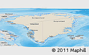 Shaded Relief Panoramic Map of Greenland, semi-desaturated, land only