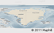 Shaded Relief Panoramic Map of Greenland, semi-desaturated