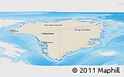 Shaded Relief Panoramic Map of Greenland, single color outside