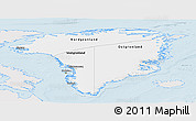 Silver Style Panoramic Map of Greenland, single color outside
