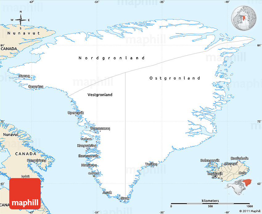 Classic Style Simple Map Of Greenland - Map of greenland