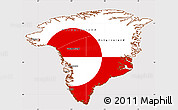 Flag Simple Map of Greenland, flag centered