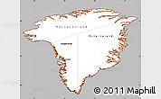 Gray Simple Map of Greenland, cropped outside