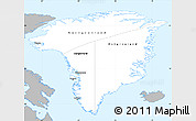 Gray Simple Map of Greenland, single color outside