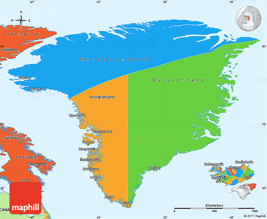 Political Simple Map Of Greenland - Greenland map
