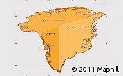 Political Shades Simple Map of Greenland, cropped outside