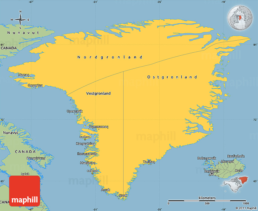 Savanna Style Simple Map Of Greenland - Map of greenland