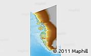 Physical 3D Map of Vestgronland, single color outside