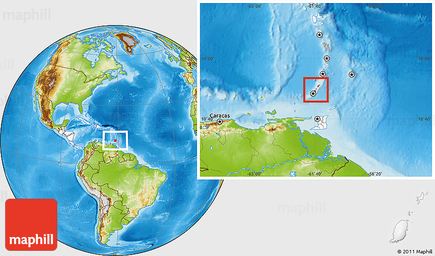 Physical Location Map Of Grenada Highlighted Continent - Map of grenada world