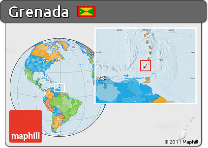 Free Political Location Map of Grenada