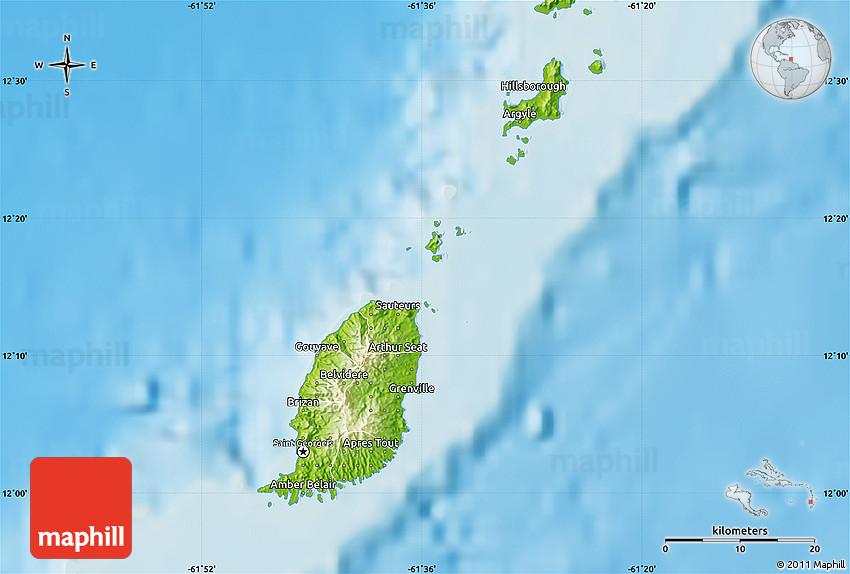Physical Map of Grenada