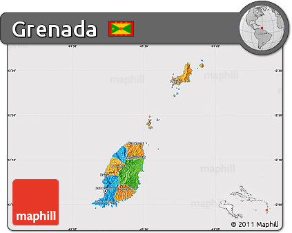 Free Political Map of Grenada, cropped outside