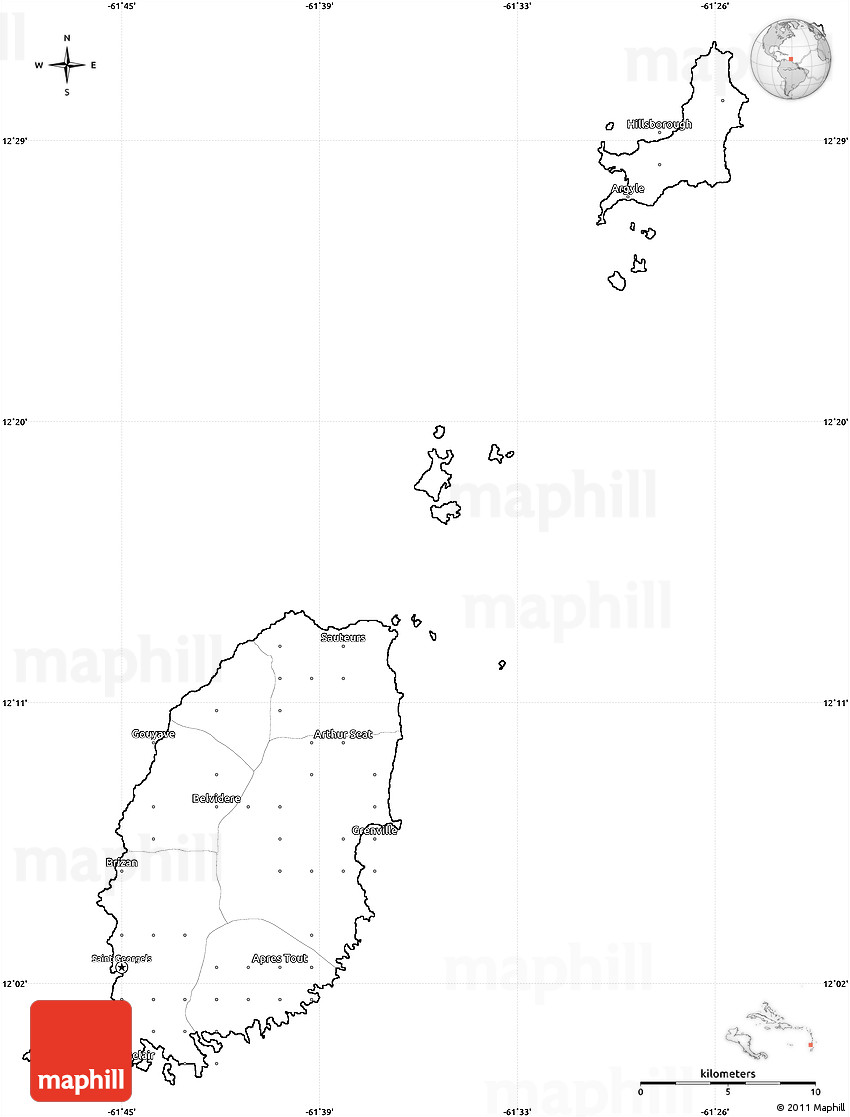 Blank Simple Map of Grenada