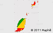 Flag Simple Map of Grenada