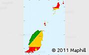 Flag Simple Map of Grenada, single color outside