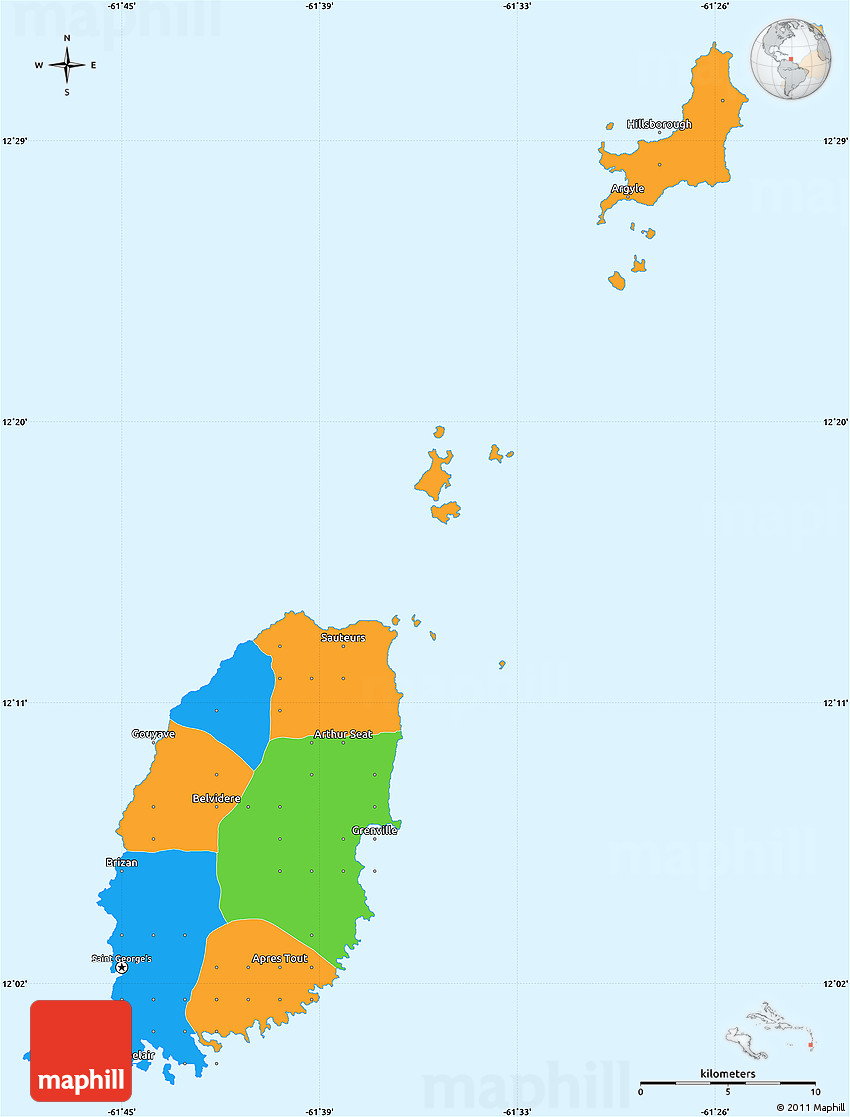 Political Simple Map of Grenada