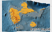 Political Shades 3D Map of Guadeloupe, darken