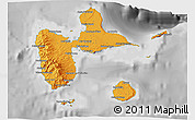 Political Shades 3D Map of Guadeloupe, desaturated