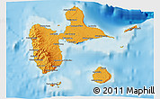 Political Shades 3D Map of Guadeloupe, physical outside